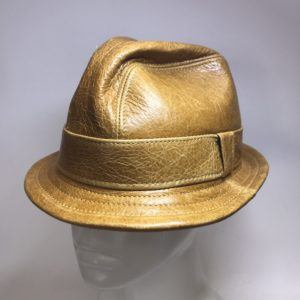 Leather Snatch Fedora in Whiskey