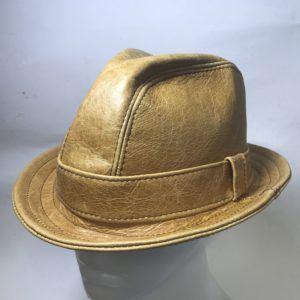 Fedora Hat Whisky Leather