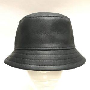 Bucket Hat Black Wax Leather