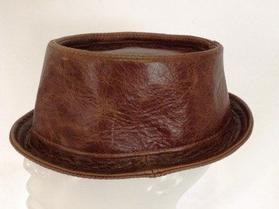 Leather Pork Pie Hat Brown