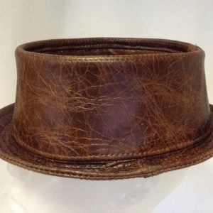 Leather Pork Pie Hat Cracked Brown