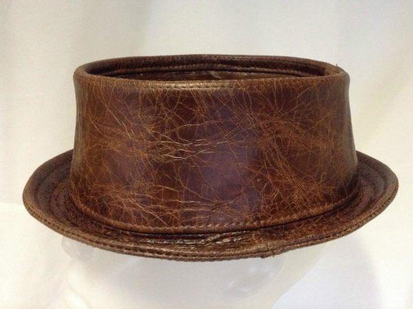 Leather Pork Pie Hat Cracked Brown