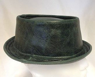 Leather Pork Pie Hat Green