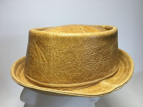 Leather Pork Pie Hat Whiskey