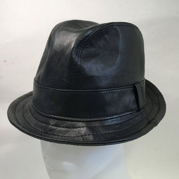 Nappa Leather Snatch Fedora Black: Made To Order