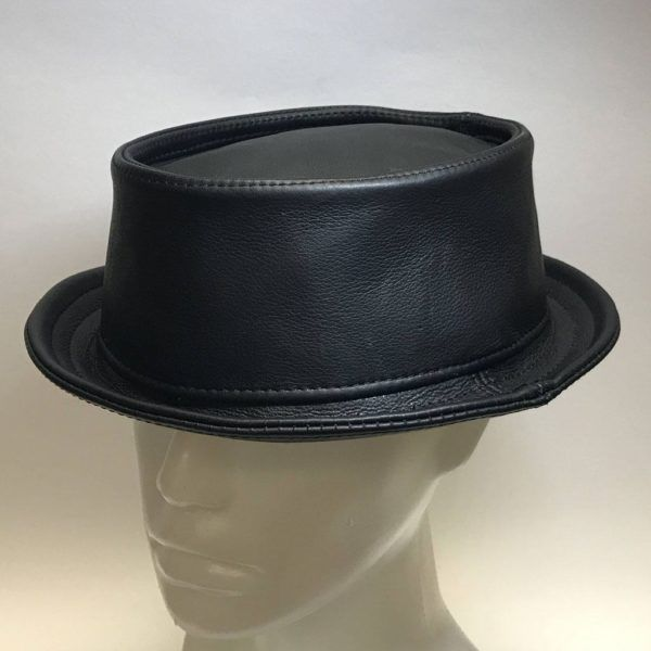 Uber Leather Pork Pie Hat Black