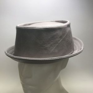 Made To Order Leather Pork Pie Hat Grey