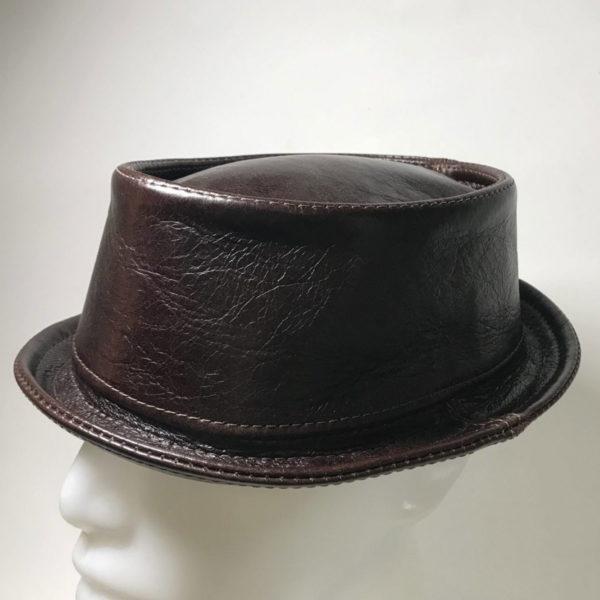 Leather Pork Pie Hat Chocolate Brown