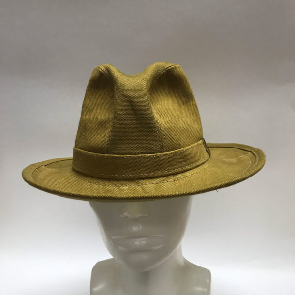Made To Order Tall Fedora Dry Oilskin Mustard Front