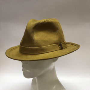 Made To Order Tall Fedora Dry Oilskin Mustard Side