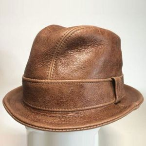 Leather Snatch Fedora in Brown - Made to Order Small to XXLarge
