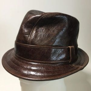 Leather Snatch Fedora in Chocolate Brown - Made to Order Small to XXLarge