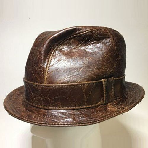 Leather Snatch Fedora in Cracked Brown - Made to Order Small to XXXXLarge