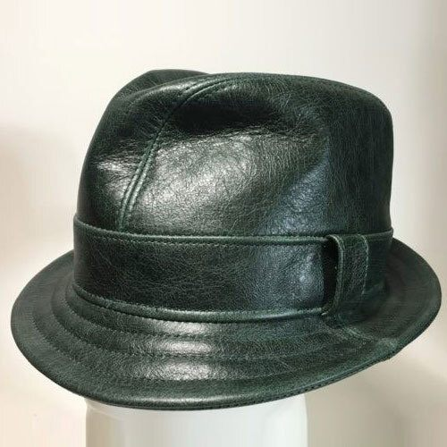 Leather Snatch Fedora in Green- Made to Order Small to XXLarge
